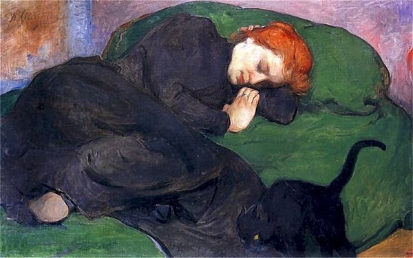Sleeping woman with a cat Wladyslaw Slewinski (ca. 1896)